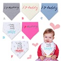 2015 New I Love Mom Dad Bib Bandanas Baby Bibs Waterproof Feeding Baby Saliva Towel Newborn Print Waterproof Aprons Burp Cloths