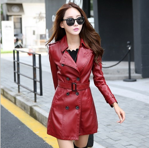 Plus Size Woman Double Breasted   Leather   Jacket Female Pu   Leather   Trench Coat Belt   Suede   Overcoat Long Black Red 4XL 5XL