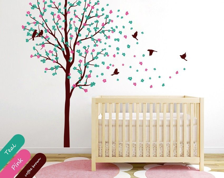 Baby Nursery Tree Wall Decal Wall Mural Sticker Cherry Blossoms With Birds  DIY Removable Wallpaper Size