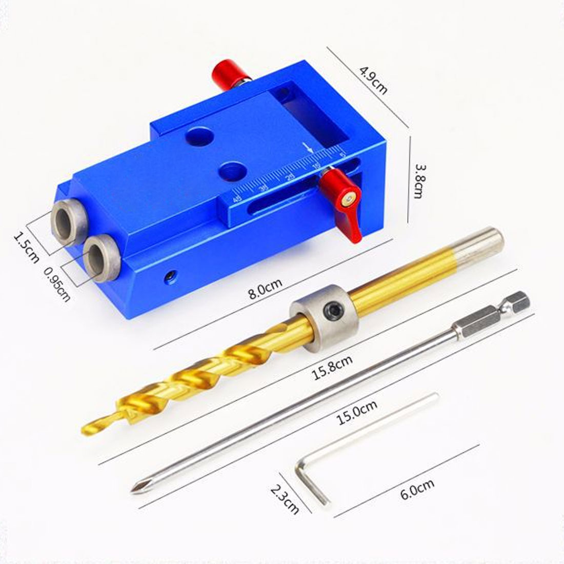 Woodworking Pocket Hole Jig Kit 6/8/10mm Angle Drill Guide Set Hole Puncher Locator Jig Drill Bit Set For DIY Carpentry Tools replacement 6mm male thread dia 34mm height knurled grip knob zmm
