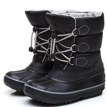 ULKNN  Elsticband Red Blue Boot Gray Boys Girls Cotton Shoes Winter Plus Cotton Non-Slip Tassels New Kid's Snow Boots Keepwarm