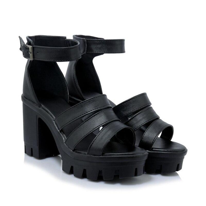 Chaussures Pu En Haute Super Été Dame Noir Talons Black Femme forme Sandales Respirant Blanc Cuir white Sandale Sangle Boucle Gladiateur Plate Chunky qwfwnCIEv