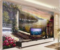 3d room wallpaper custom mural non-woven TV setting wall european-style garden balcony sea oil paintings wallpaper for walls 3d