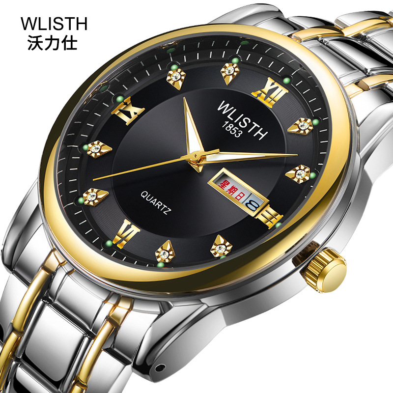 2019 WLISTH Brand Date Waterproof Crystals Men Watch Steel Wrist Watch Business Dress Gift Watches Montre Homme Reloj