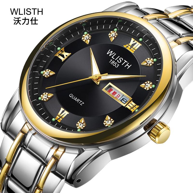2019 WLISTH Brand Date Waterproof Crystals Men Watch Steel Wrist Watch Business Dress Gift Watches Montre Homme Reloj