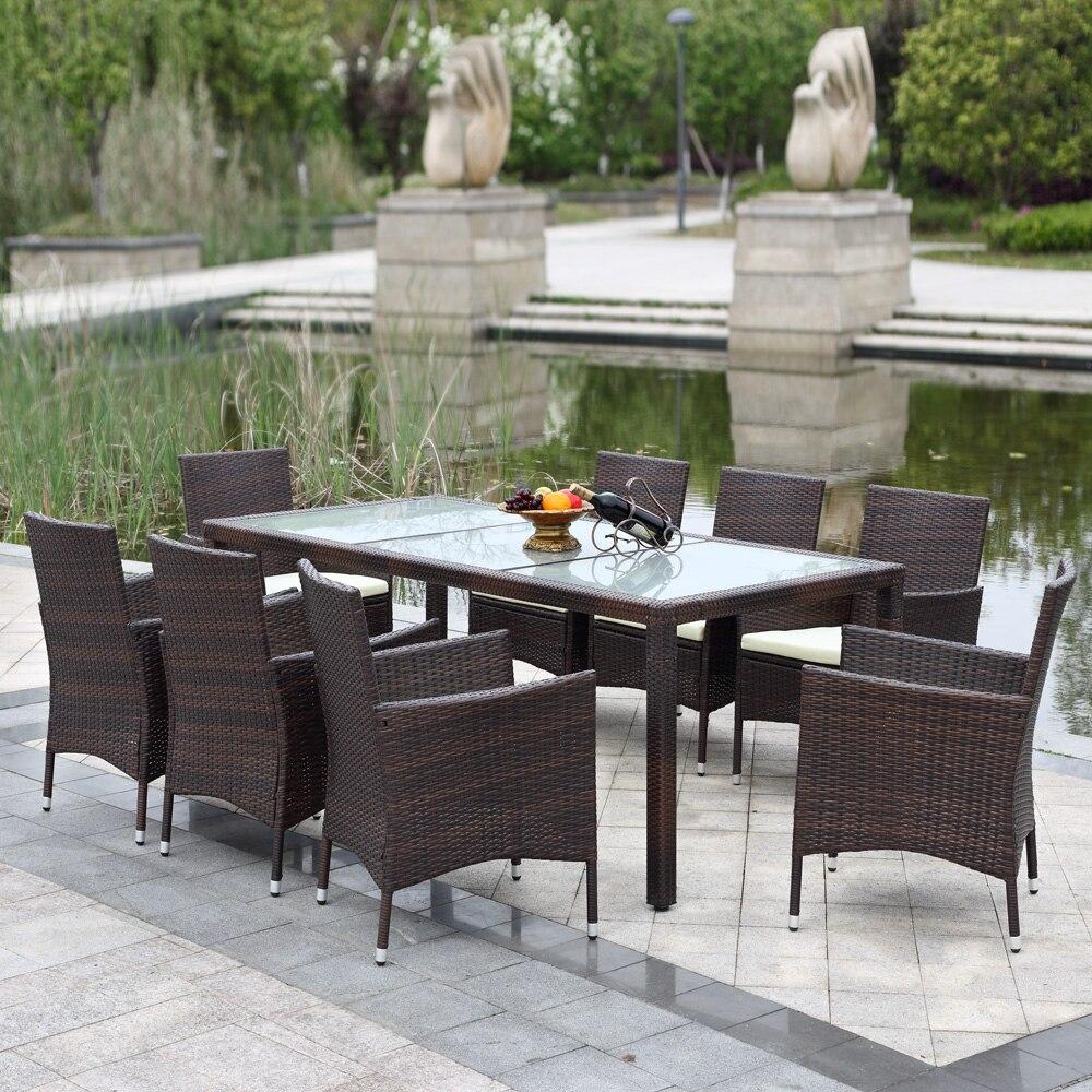 Aliexpress.com : Buy iKayaa US Stock 9PCS Rattan Outdoor Dinning ...