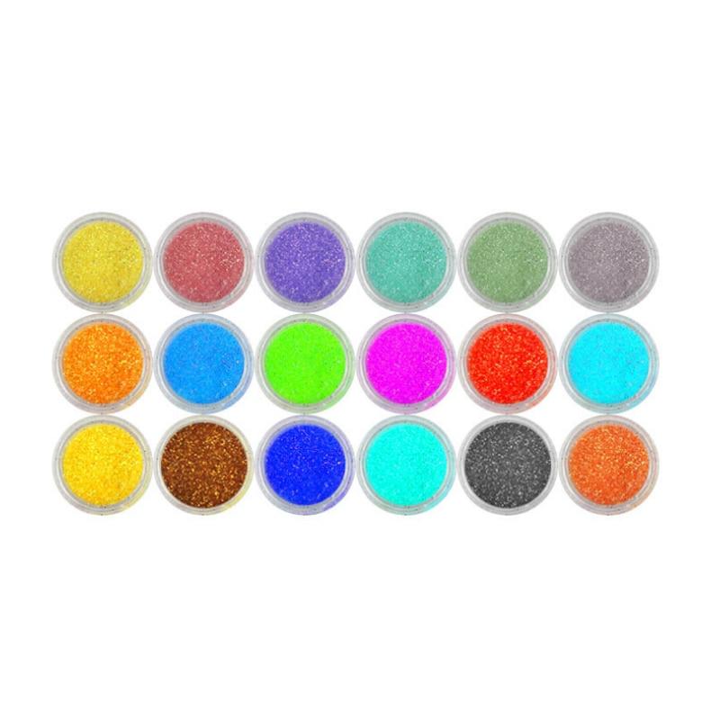 18 colores Nail Art Glitter Polvo en polvo kit de decoración para - Arte de uñas