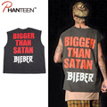 Justin Bieber GD Man Tanks Oversize Loose Letter Printed Casual Tanks Tops Street Style Vests Sleeveless Fashion Men Clothing
