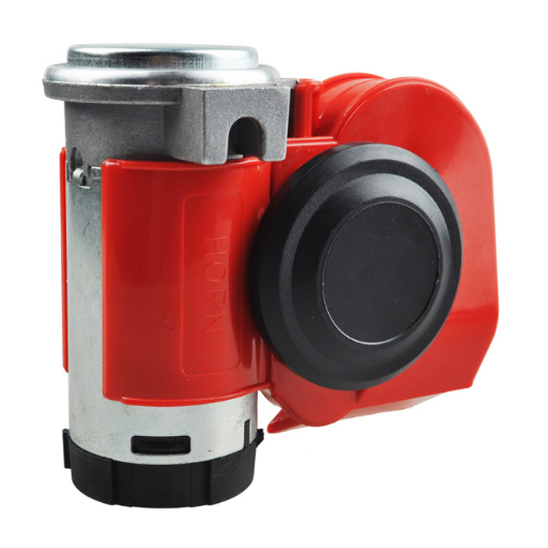 Twin Dual Tone Compact Air Loud Horn 12V 110-125db Compressor Red Motorcycle Horn