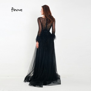 Image 5 - Finove Evening Dress 2020 New Arrivals Gorgeous Black A Line Gowns Full Sleeves Feathers Neck Line Floor Length Formal Dress