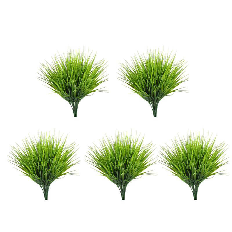 New 5PCS Artificial Grass Plant Decorative Bendable Fake Plant Fake Grass Plant For Home Office Table Garden Wedding Party Decor