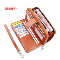 SENDEFN Vintage Leather Women Long Wallet Pocket Purse Phone Wallet Female Card Holder Female Lady Clutch Coin bag