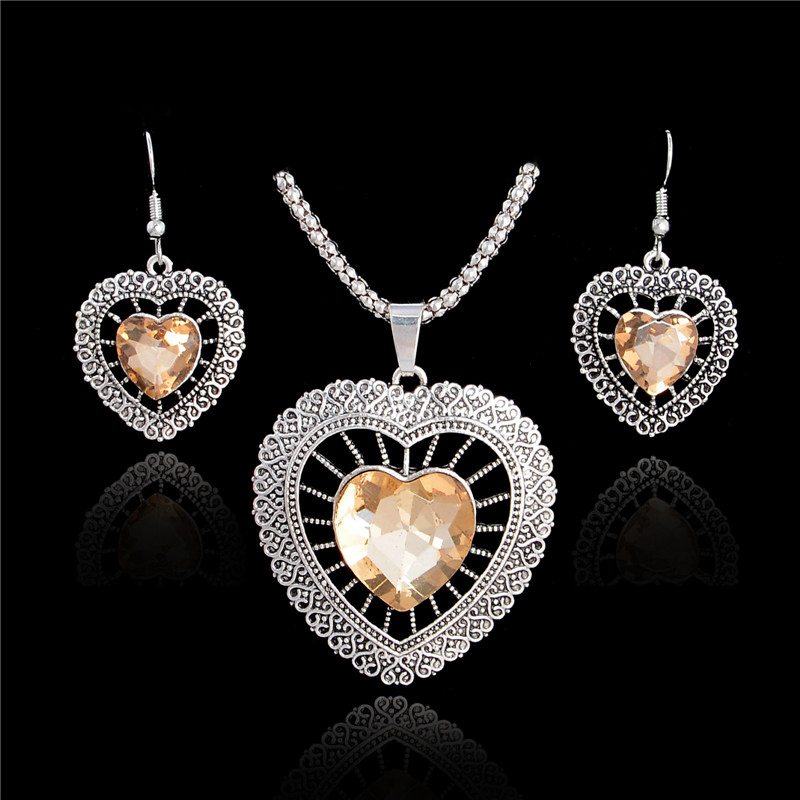 H:HYDE Shiny Heart Crystal Wedding Bridal Jewelry Sets For Women Vintage Silver Color Pendant Necklace Earrings parure bijoux