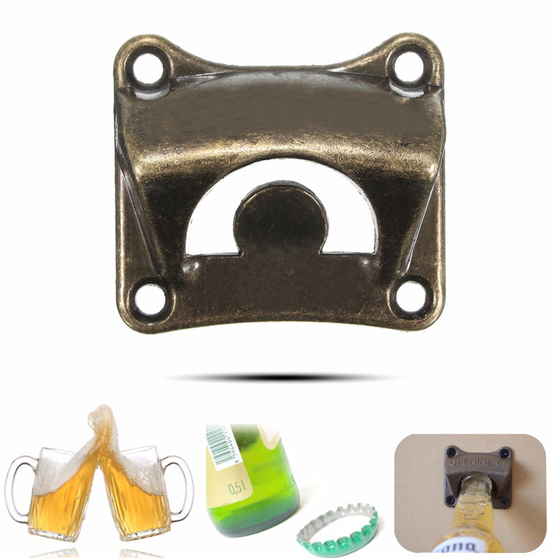 Vintage Bronze Wall Mounted Opener Wine Beer Soda Glass Cap Bottle Opener Kitchen Bar Gift Zinc Alloy About 65x60x30mm new stylish hot sale 1pc poker playing card ace of spades bar tool soda beer bottle cap opener gift