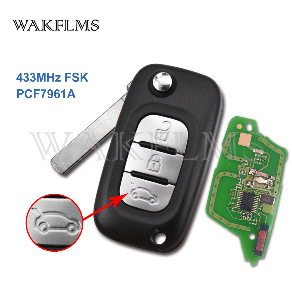 3 Buttons 433MHz PCF7961A Chip Filp Remote Car Key Fob For Renault Fluence Megane III Auto Accessories Replacement(China)