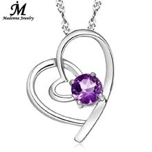 2016 New double loving crystal heart pendant jewelry fashion White purple CZ zirconia silver plated charm wholesale