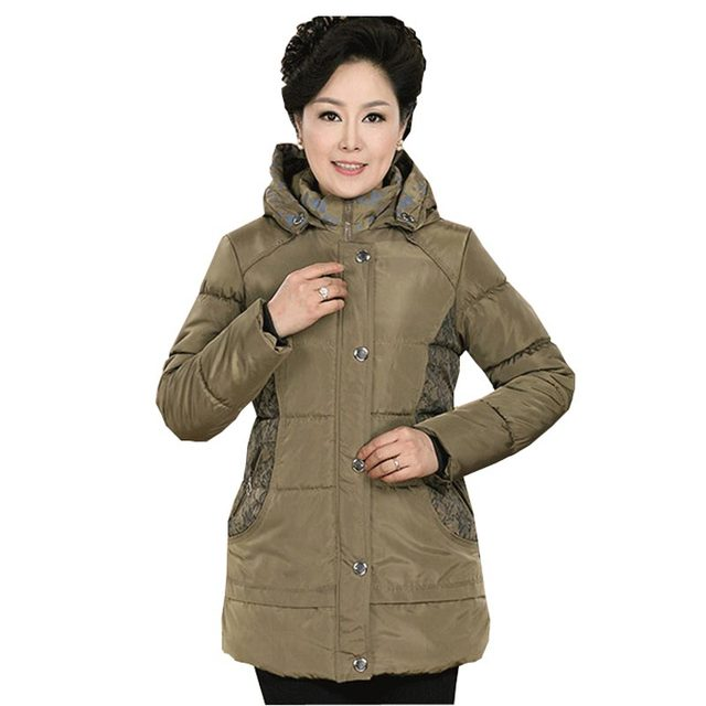 middle-aged women wadded jacket coat winter warm thick cotton coat hooded mother clothing cotton-padded lace outerwear kl384