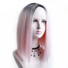 AOSIWIG Ombre Bob Short Straight Hair Wigs Synthetic High Temperature Fiber Halloween Party Cosplay Wig for Women(China)