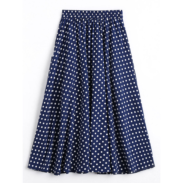 CharMma New Women Button Up Pockets Polka Dot Skirt High Waist  A-Line Pleated Slim Skirt For Women Vintage Mid Calf