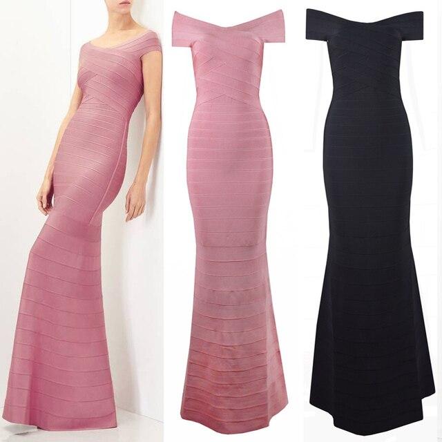 New Pink Black Women Maxi Dresses Short Sleeve Robe Long Bandage Bodycon  Dress Vestidos Women Formal Celebrity Party Dress 8aef77b10