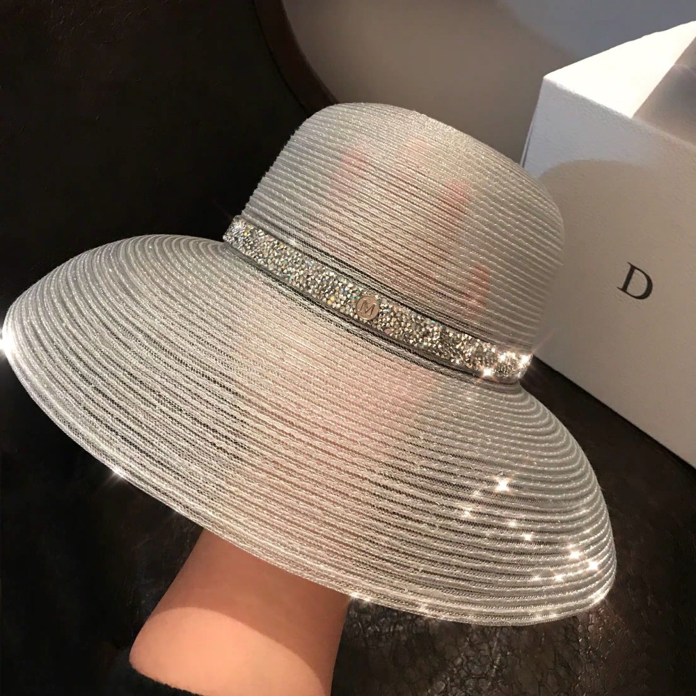 01904 fu56545151 Fashion transparent silk Hepburn style lady sun cap women leisure holiday beach hat in Women 39 s Fedoras from Apparel Accessories