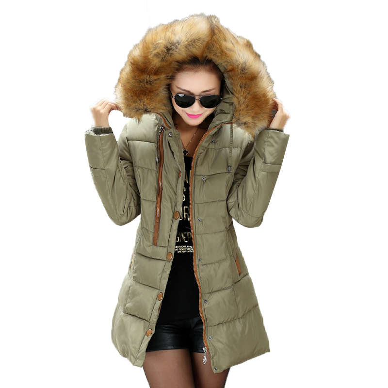ФОТО 2016 Winter New Women Clothes Plus Size Coats Fur Collar Hooded Thick Ladies Down & Parkas Slim Casual Zipper Outwear Hot 3028