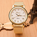 Большие Скидки Мода Золото Классический Старинные Часы Женские Часы Женеве Кварцевые часы Из Нержавеющей Стали Ремешок Наручные Часы Relogio Feminino