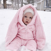 Flannel Baby Girls Rompers Winter Pink Long Rabbit Ears Clothes Hooded Girls Cute Bunny Warm Jumpsuit