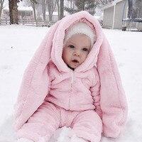 Mamelucos de Los Bebés de Invierno de franela Rosa Largas Orejas de Conejo Ropa Encapuchados Niñas Lindo Conejito Caliente Del Mono Del Bebé Ropa de Algodón