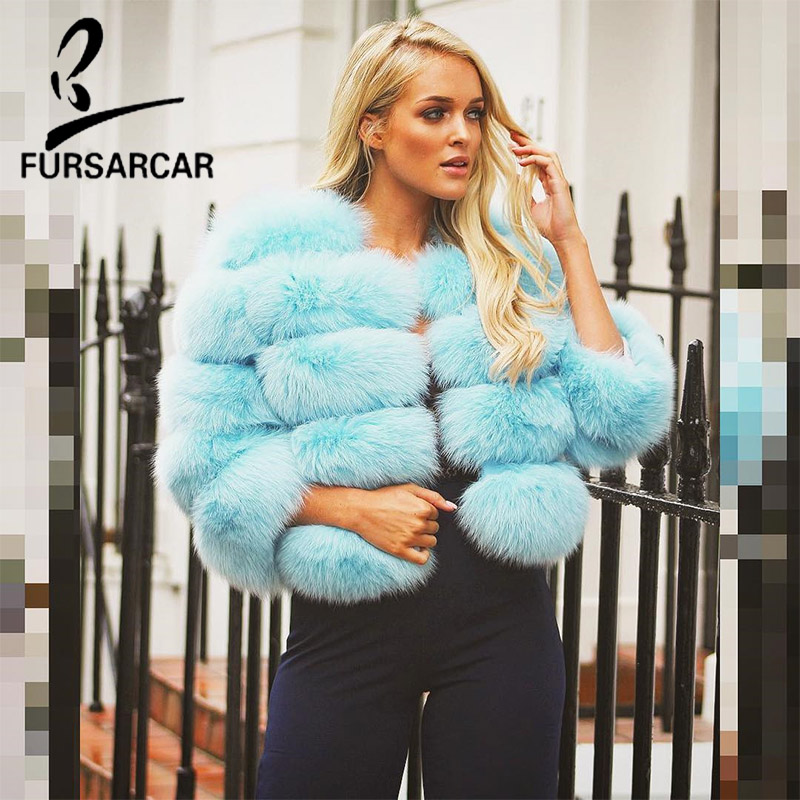 FURSARCAR NEW Fashion Real Fur Coat For Luxury Women Natural Fox Fur Jacket Top Quality Thick Silm Short Winter Coats Stripper