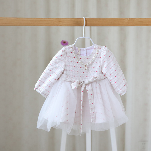 808361d45fa7 2016 new children fall sweet girls polka dot dress baby princess ...