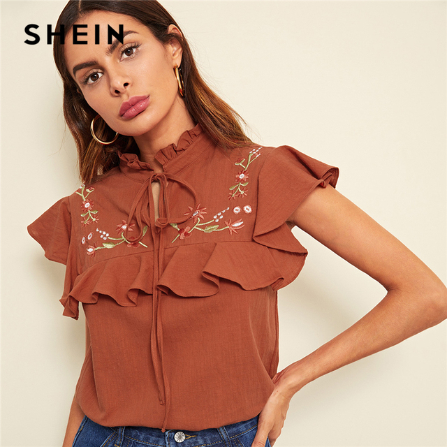 cd2bd940f4d494 SHEIN Rust Tie Neck Floral Embroidered Ruffle Top Elegant Casual Frill  Stand Collar Shirt Womem Cotton Summer Blouse