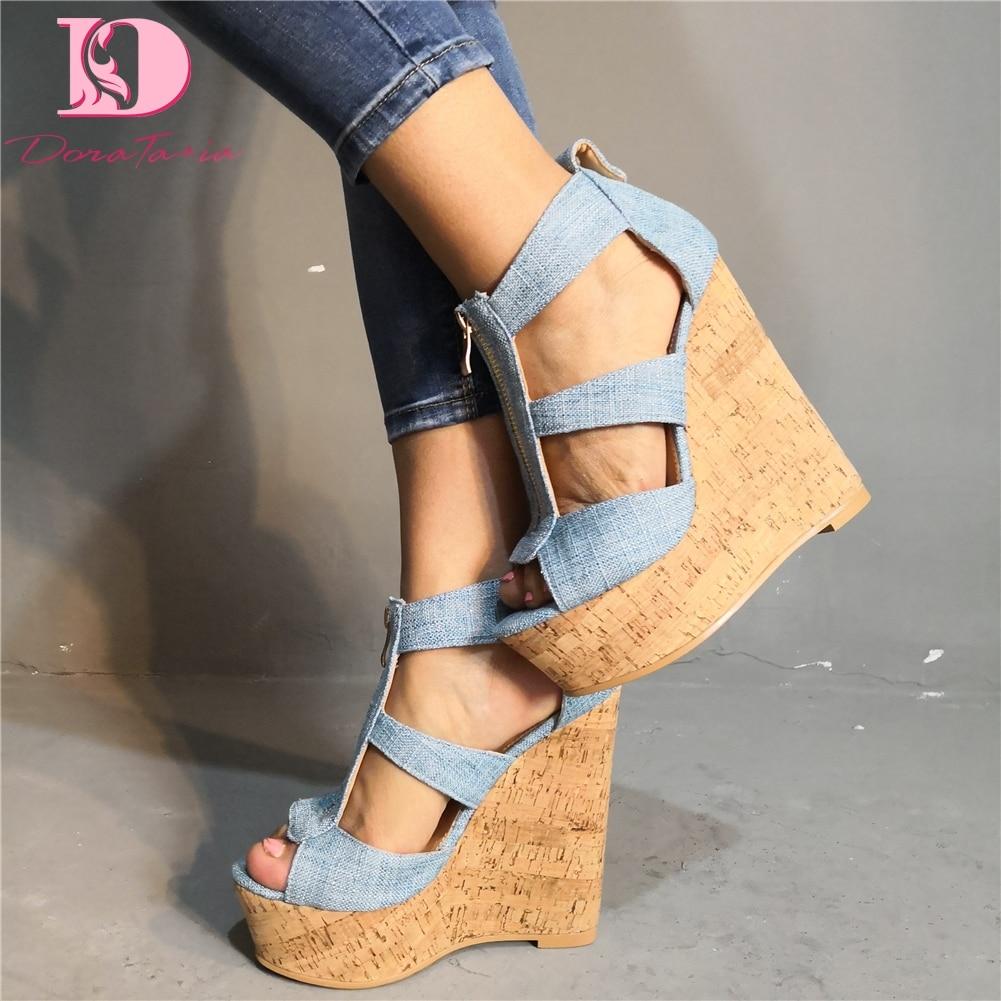 DoraTasia Sexy Big Size 35 47 Party Sandals Women Shoes Platform Denim Wedges Shoes High Heels Shoes Woman Sandals-in High Heels from Shoes    1