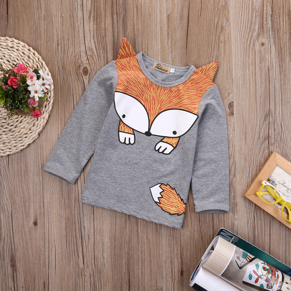 Newborn-Baby-Girls-Boys-Fashion-Loose-Grey-Cotton-Cartoon-Long-Sleeve-Fox-T-Shirt-1