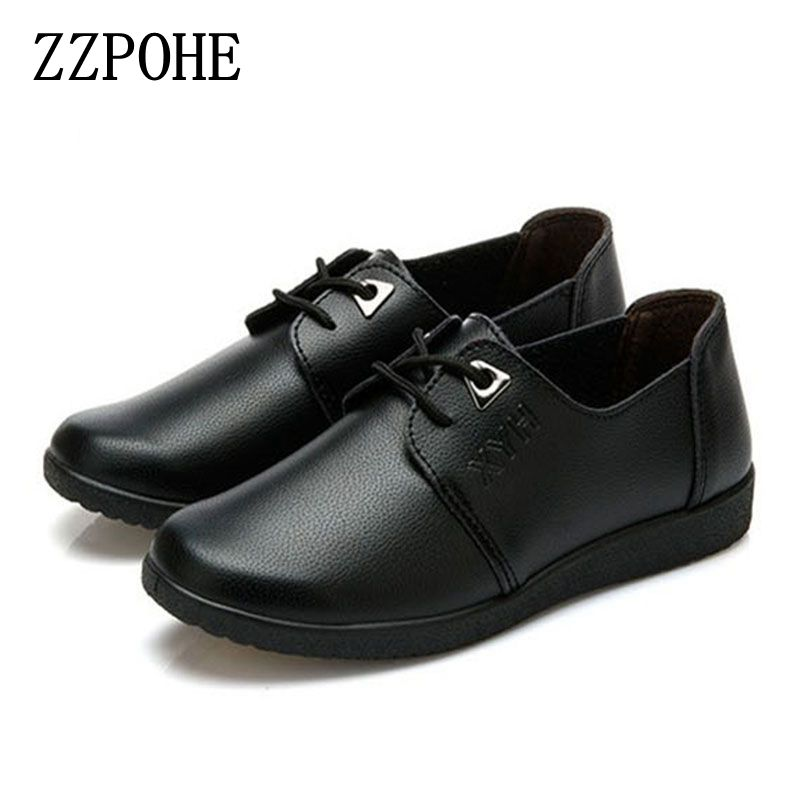ZZPOHE New casual shoes slip mom solid middle-aged non-slip soft bottom comfortable Women shoes large size flat black shoes spring and autumn paragraph new women leather fashion large size women flat shoes casual comfortable soft bottom driving shoes