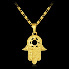 New Trendy Magen Star of David Israel Hamsa Hand Pendant Necklaces for Men/women Gold color Amulet Miriam Jewelry Bijoux