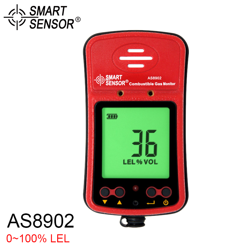 AS8902 Portable Combustible Gas Detector High Sensivity Natural Gas Monitor With LCD Display Alarm Sensor For Home Security digital co2 monitor detector gm8802 gas detector 3 in1 carbon dioxide temperature humidity detector with lcd backlight display