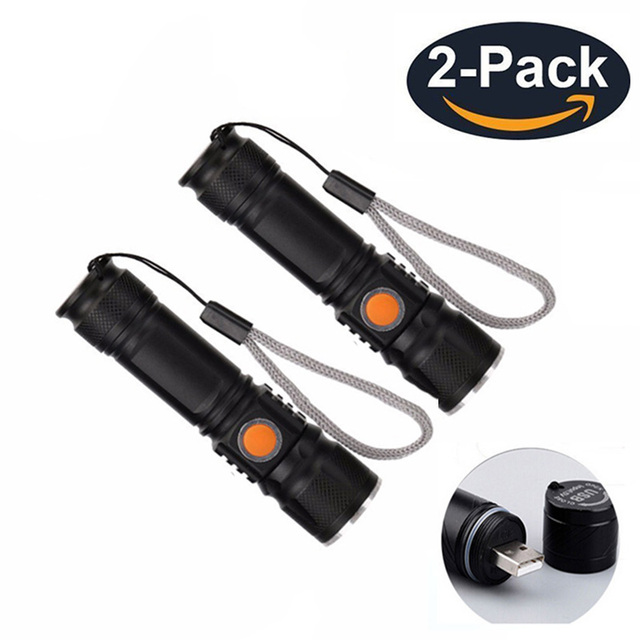 2 Pack USB Led Flashlight Built in 18650 Battery Rechargeable Linternas Cree XML-T6 2000LM Mini Light For Emergency Camping