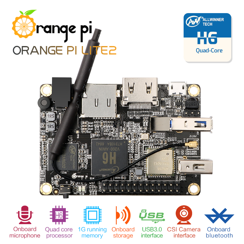 Orange Pi Lite2 H6 1GB USB3.0 Bluetooth4.1 Quad-core 64bit development board Support android7.0 mini PC Звуковая карта