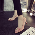 Free shipping Pearl pointed high-heeled shoes Asakuchi fine with a single shoe bow suede shoes