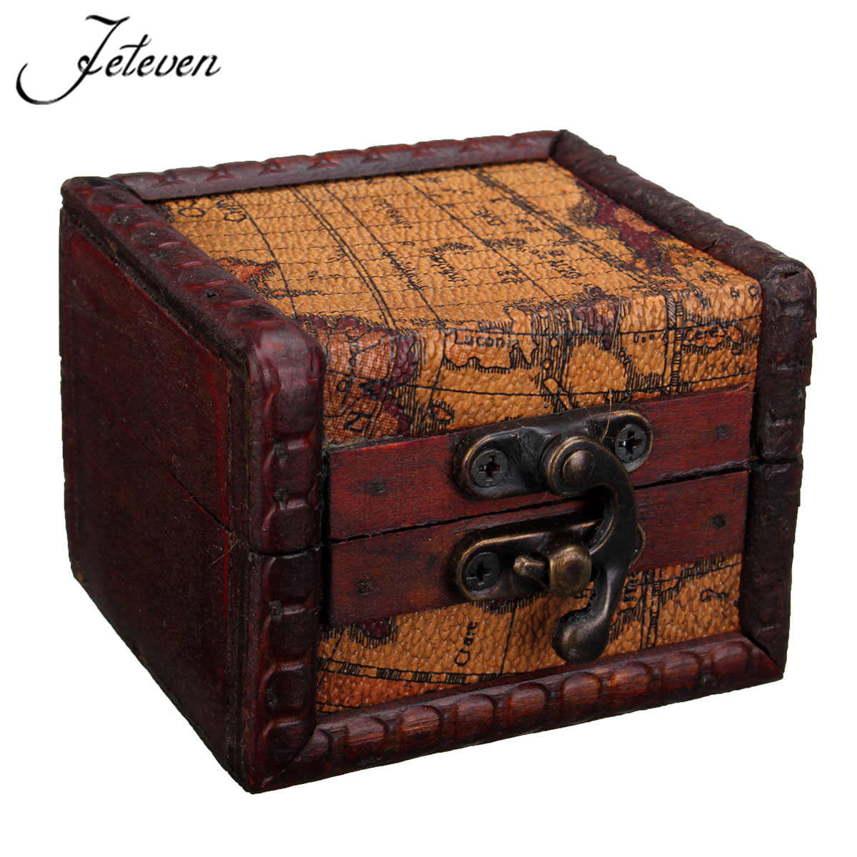 Mini retro map pattern wood jewelry storage box vintage for Girls large jewelry box