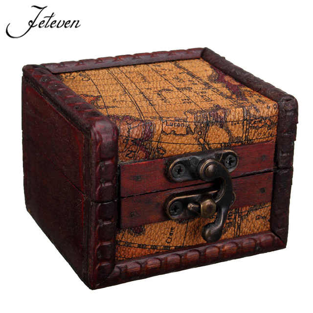 Mini Retro Map Pattern Wood Jewelry Storage Box Vintage Small Unique Small Decorative Storage Boxes With Lids