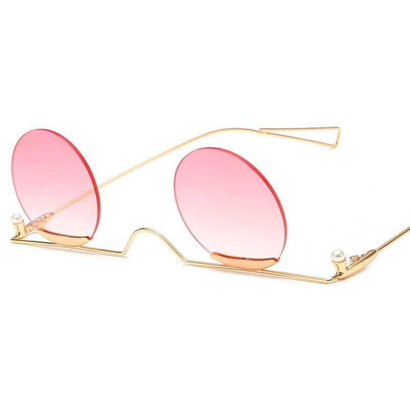Nuovo 2019 Donne di Modo Rotondo Delle Signore Occhiali Da Sole Senza Montatura Occhiali Da Sole di Lusso Del Progettista Femminile Occhiali
