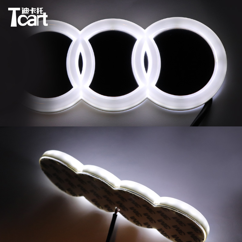 Tcart 4D LED Car front Logo Light Badge Lamp Emblem Sticker for audi 4d Emblem Logo Light 18*5.8cm image