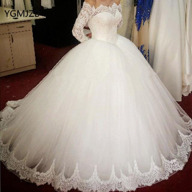 Wedding Dress Puffy Ball Gown 2019 Boat Neck Appliques Lace Off Shoulder Long Sleeves Bridal Gown Bride Dress Vestido de Noiva