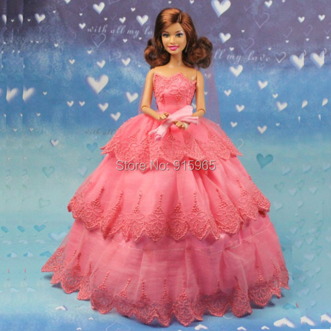 new arrvial kids woman merry Christmas doll costume prime quality elegant pink wedding ceremony costume for barbie doll