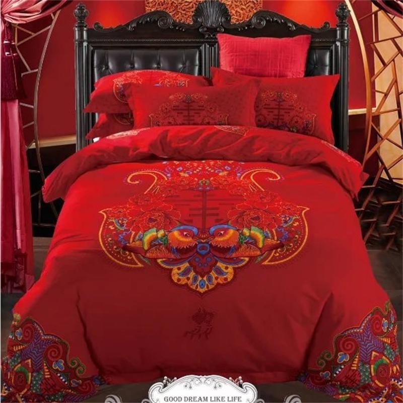 Lovebirds chinois traditionnels et pivoine mariage rouge ensemble de literie reine taille 100% coton imprimé draps housse de couette taie d'oreiller