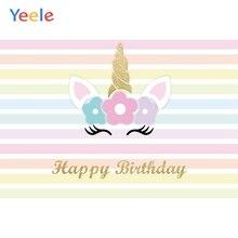 Yeele Unicorn Birthday Photocall Stripe Party Decor Photography Backdrop Personalized Photographic Backgrounds For Photo Studio