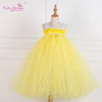 Handmade Yellow Princess Flower Girl Dresses Baby Girl Party Tutu Dress Tulle Kids Pageant Birthday Wedding