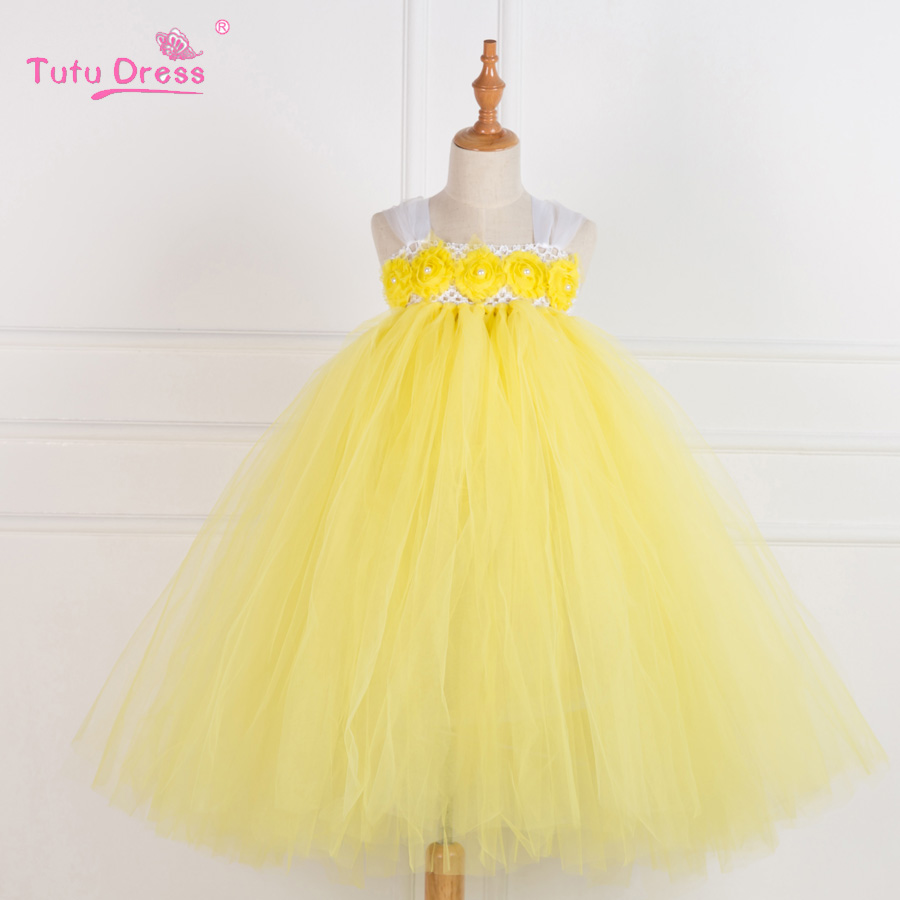 Handmade Yellow Princess Flower Girl Dresses Baby Girl Party Tutu Dress Tulle Kids Pageant Birthday Wedding Dresses